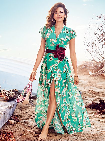 Eva Mendes Collection - Allison Maxi Dress - Green Floral - New York & Company