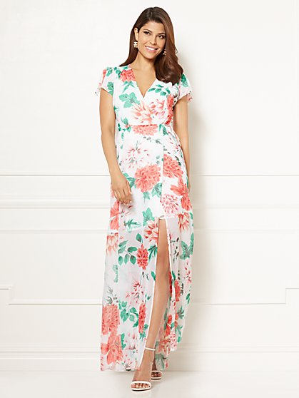 Eva Mendes Collection - Allison Maxi Dress - White Floral - Petite - New York & Company