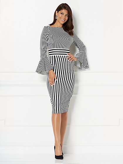 Eva Mendes Collection - Amal Striped Sheath Dress - Tall - New York & Company