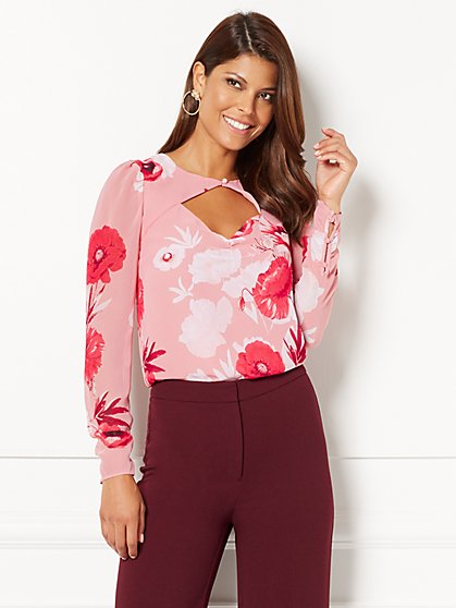 Eva Mendes Collection - Briana Cutout Blouse - Floral - New York & Company