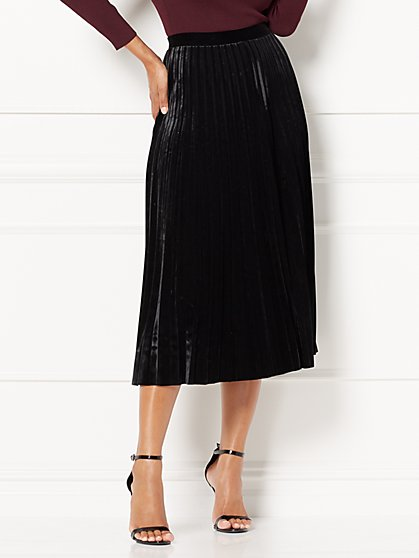 Eva Mendes Collection - Caitlyn Pleated Velvet Skirt - New York & Company