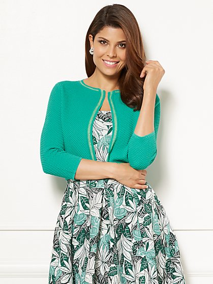 Eva Mendes Collection - Celeste Jacquard & Stripe Cardigan - New York & Company