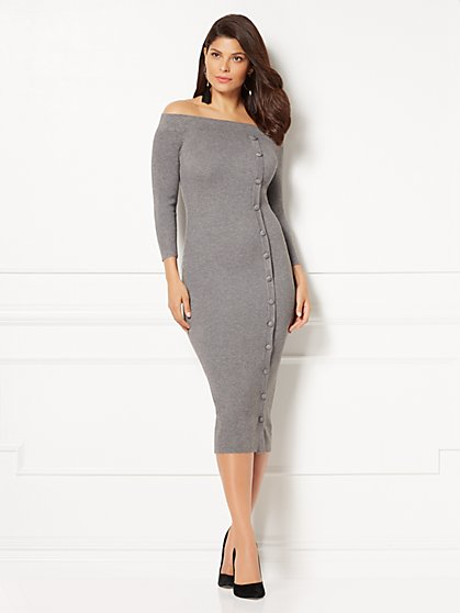 Eva Mendes Collection - Daveena Sweater Dress - Grey - New York & Company