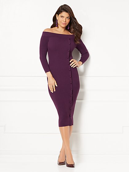 Eva Mendes Collection - Daveena Sweater Dress - Purple - New York & Company