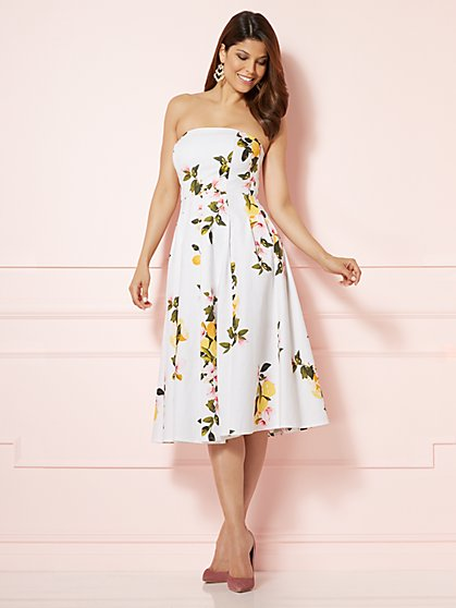 Eva Mendes Collection - Del Mar Strapless Dress - White - New York & Company