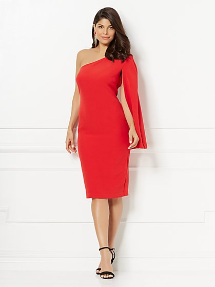 Eva Mendes Collection - Donatella One-Shoulder Cape Dress - New York & Company