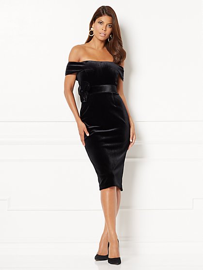 Eva Mendes Collection - Elyse Off-The-Shoulder Midi Dress - New York & Company