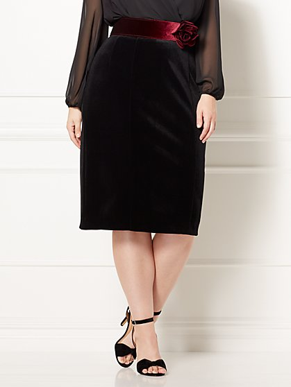 Eva Mendes Collection - Emma Velvet Skirt - Plus - New York & Company
