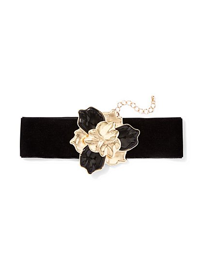 Eva Mendes Collection - Floral Velvet Choker Necklace   - New York & Company