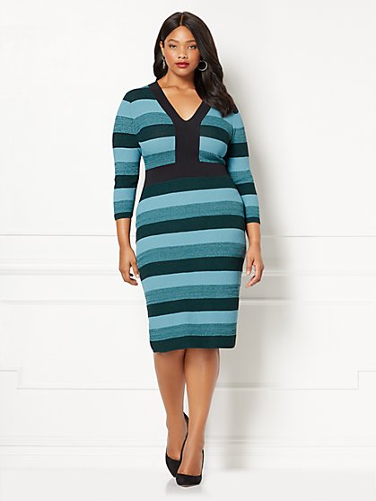 Eva Mendes Collection - Francisca Stripe Sweater Dress - Plus - New York & Company