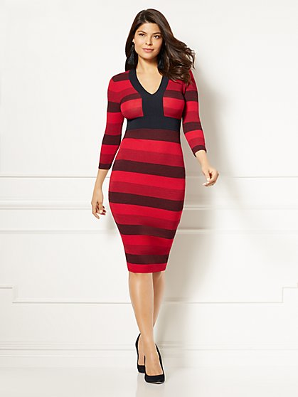 Eva Mendes Collection - Francisca Stripe Sweater Dress - New York & Company