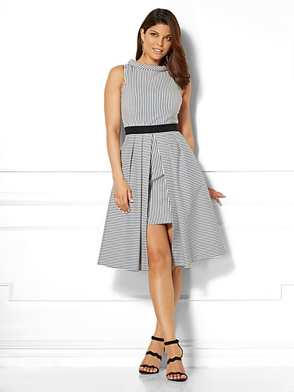 Eva Mendes Collection - Freya Dress - Mixed Stripe - Petite - New York & Company