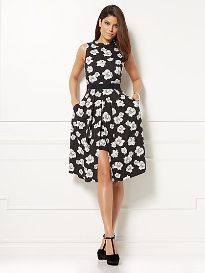 Eva Mendes Collection - Freya Fit & Flare Dress - Black Floral - New York & Company
