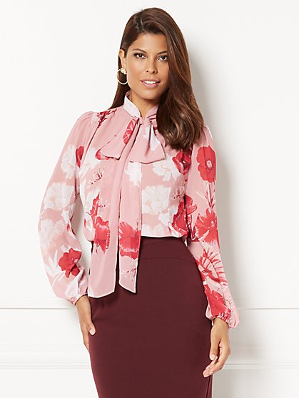 Eva Mendes Collection - Isabella Bow Blouse - Floral - New York & Company