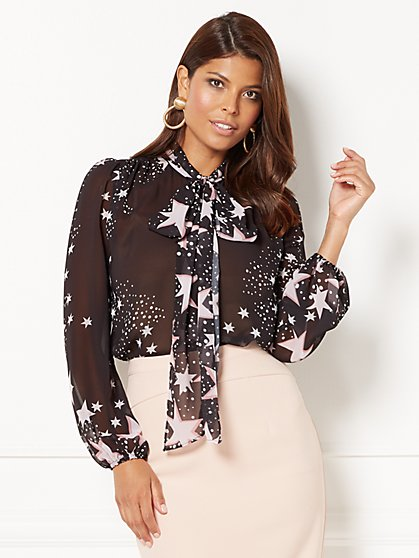 Eva Mendes Collection - Isabella Bow Blouse - Star Print - New York & Company