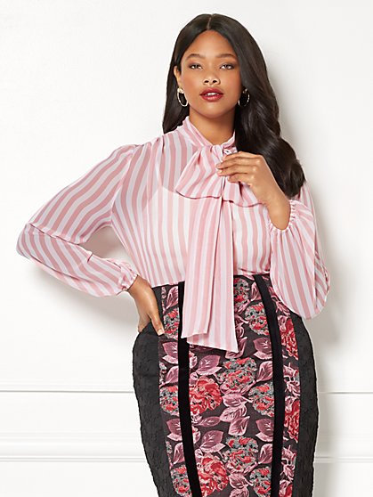 Eva Mendes Collection - Isabella Stripe Blouse - Plus - New York & Company