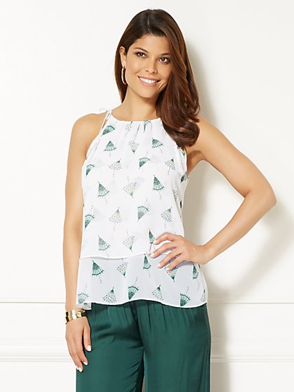 Eva Mendes Collection - Jess Tassel Top - Parasol Print - New York & Company