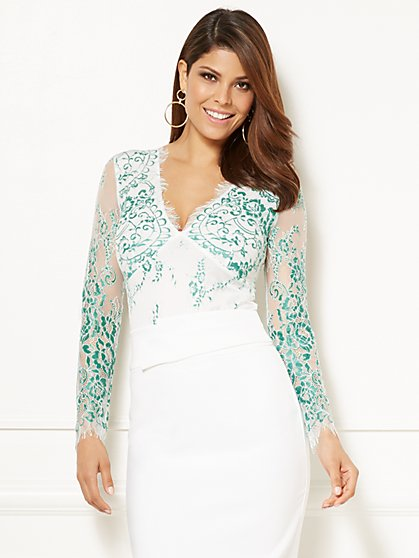 Eva Mendes Collection - Kiara Lace Bodysuit - New York & Company