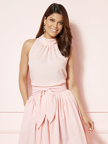 Eva Mendes Collection - Maddie Sleeveless Mock-Neck Blouse  - New York & Company