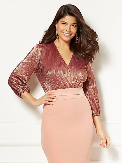 Eva Mendes Collection - Mila Pleated Bodysuit - Metallic Copper - New York & Company