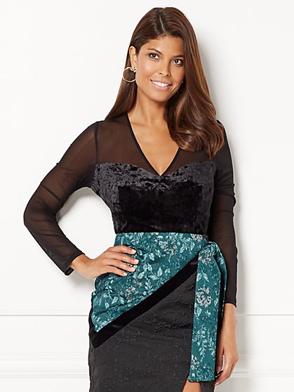 Eva Mendes Collection - Myra Velvet Lace Corset Top - New York & Company