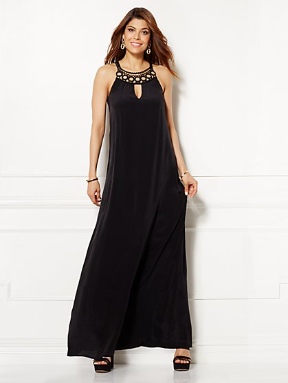 Eva Mendes Collection - Naomi Embroidered Maxi Dress - Black  - New York & Company