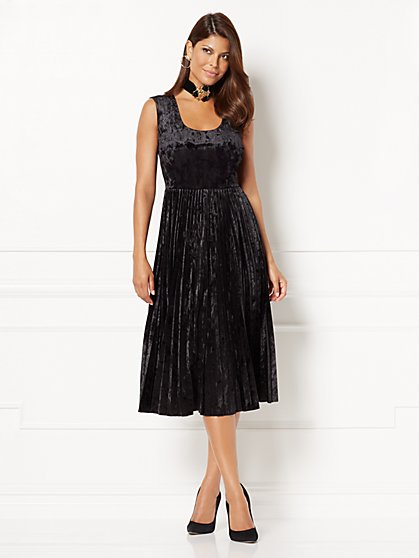 Eva Mendes Collection - Pleated Crushed Velvet Dress - New York & Company