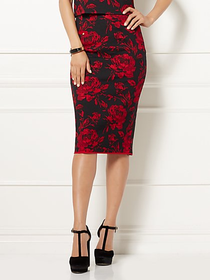 Eva Mendes Collection - Reese Pencil Skirt - Floral Jacquard  - New York & Company