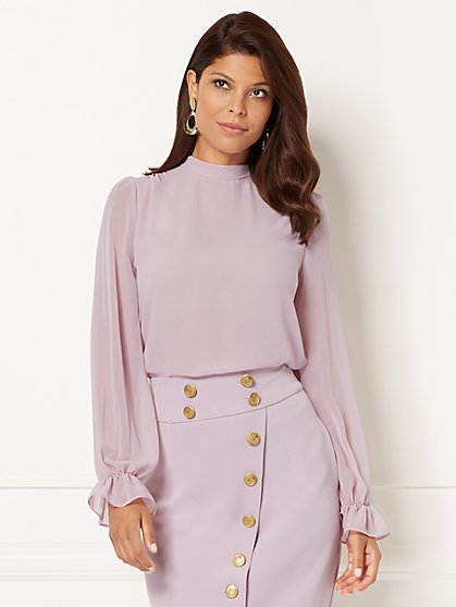 Eva Mendes Collection - Sevan Bow Blouse - Lavender - New York & Company