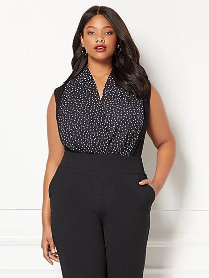 Eva Mendes Collection - Sleeveless Mila Bodysuit - Dot Print - Plus - New York & Company