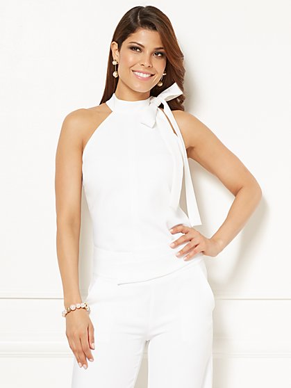 Eva Mendes Collection - Sophie Tie-Neck Halter Blouse - Petite - New York & Company