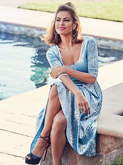 Eva Mendes Collection - Sosi Pleated Velvet Dress - Petite  - New York & Company
