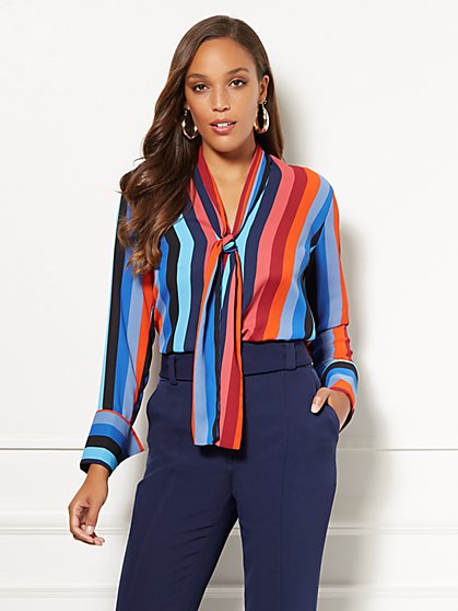 Eva Mendes Collection - Stripe Marisa Blouse - New York & Company