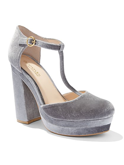 Eva Mendes Collection - Velvet T-Strap Platform Pump  - New York & Company