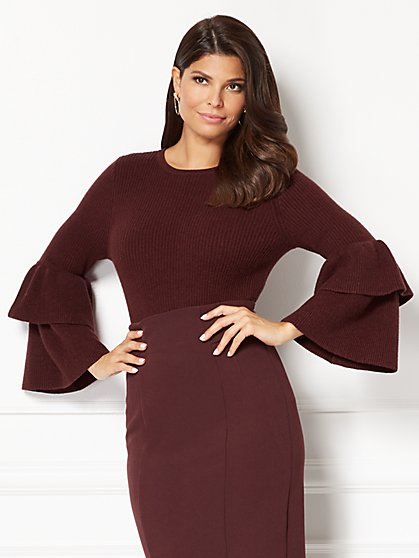 Eva Mendes Collection - Vincenza Flounced-Sleeve Sweater  - New York & Company