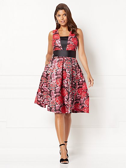 Eva Mendes Collection - Wilhelmina Jacquard Flare Dress - Petite - New York & Company