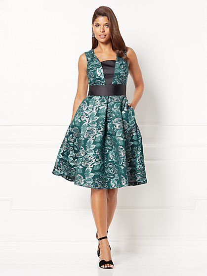 Eva Mendes Collection - Wilhelmina Jacquard Flare Dress - New York & Company