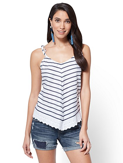 Eyelet-Trim Tank Top - New York & Company