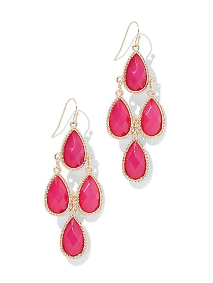 Faceted Faux-Stone Chandelier Earring - New York & Company