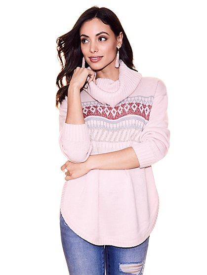 Fair Isle Cowl-Neck Sweater - New York & Company