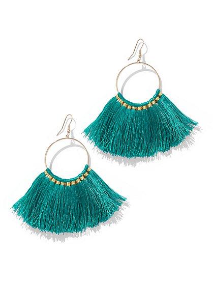 Fan-Accent Hoop Drop Earring - New York & Company