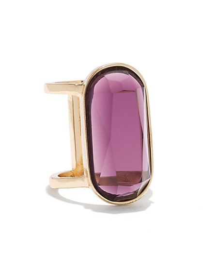 Faux Amethyst Cocktail Ring  - New York & Company