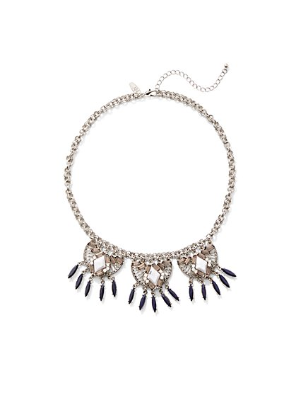 Faux-Amethyst Statement Necklace  - New York & Company