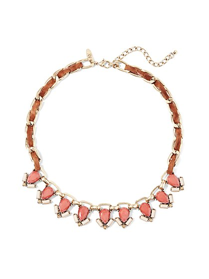 Faux-Coral Collar Necklace  - New York & Company