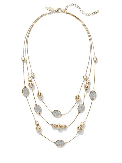 Faux-Druzy Illusion Necklace  - New York & Company