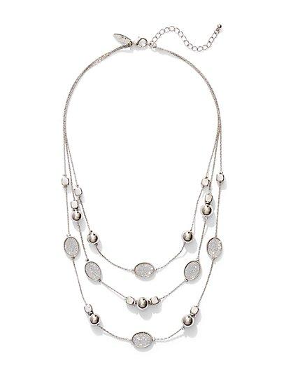 Faux-Druzy Illusion Necklace  - New York & Company