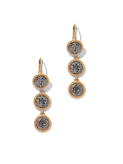 Faux-Druzy Linear Drop Earring  - New York & Company