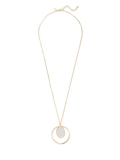 Faux-Druzy Open Pendant Necklace  - New York & Company