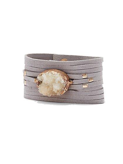 Faux-Druzy Wrap Bracelet  - New York & Company
