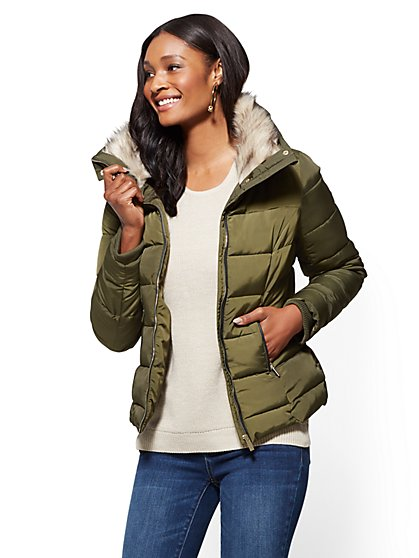 Faux-Fur Collar Puffer Jacket - New York & Company